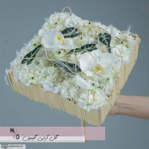 دسته گل مدرن سازه ای ارکیده و میخک1