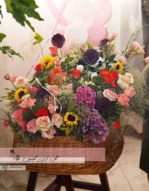 سبد گل طبیعی گهواره ای1