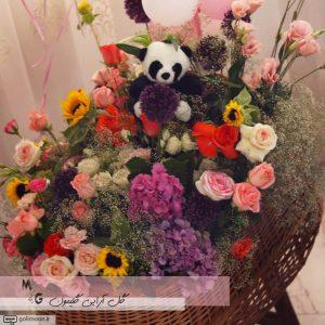 سبد گل طبیعی گهواره ای3