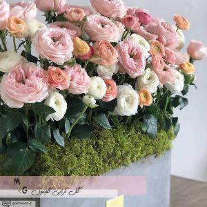 باکس گلدان سیمانی گل رز و آنمون2
