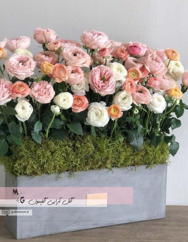 باکس گلدان سیمانی گل رز و آنمون