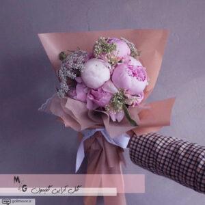 دسته گل کلاسیک پیونی صورتی1