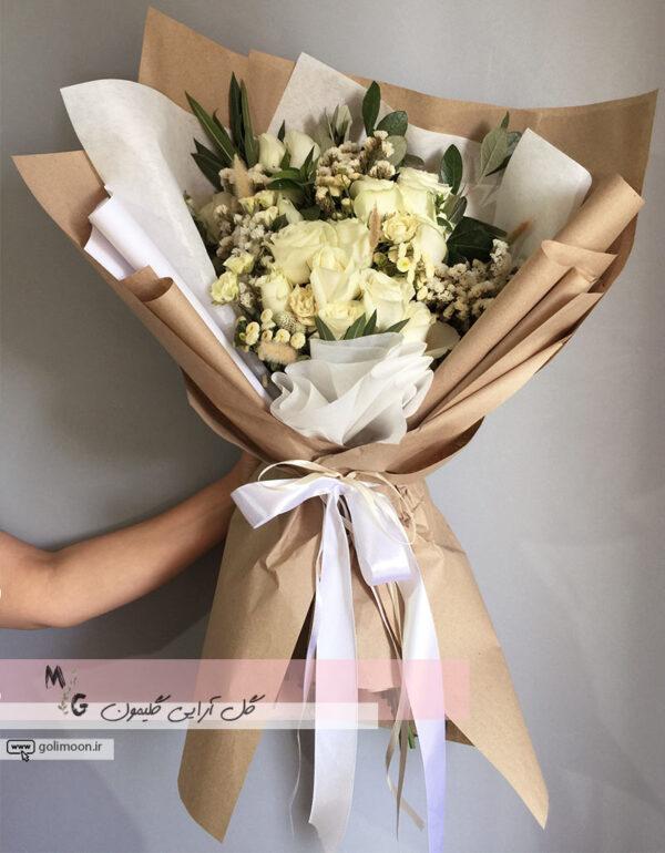 دسته گل هدیه رز سفید1