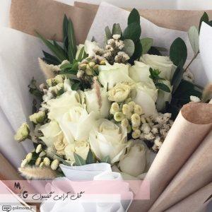 دسته گل هدیه رز سفید3